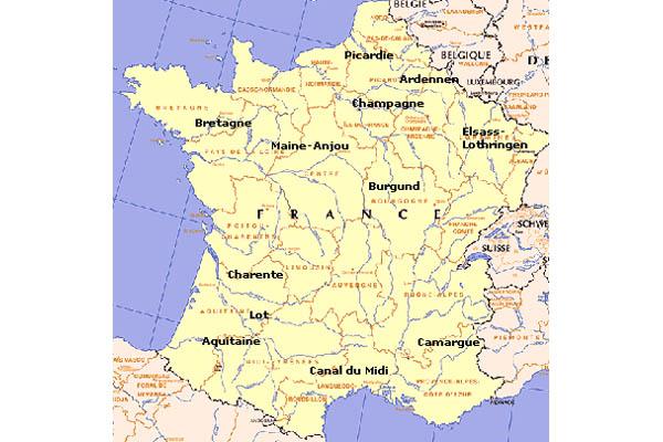 Hausboot Gebiete in Frankreich